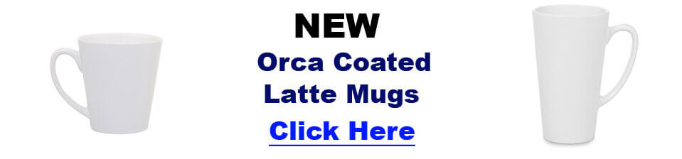 New Blank Dye Sublimation Latte Mugs. Orca Coated.