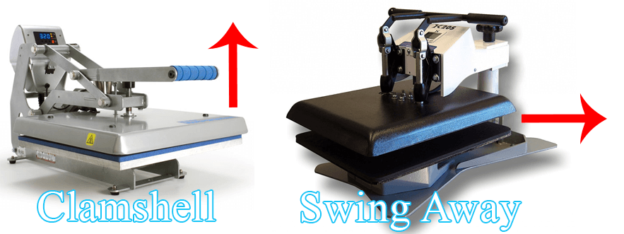 Clam or swing away heat press