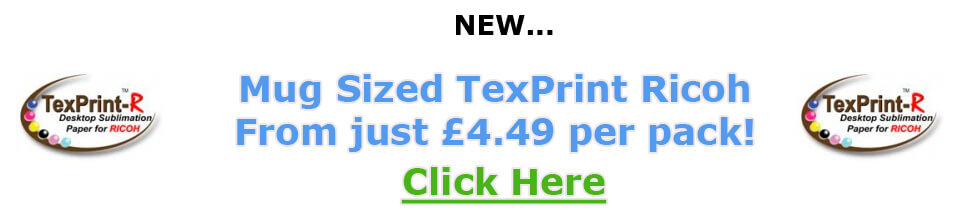 Mug Sized Texprint Ricoh Sublimation Paper x 110 sheets.