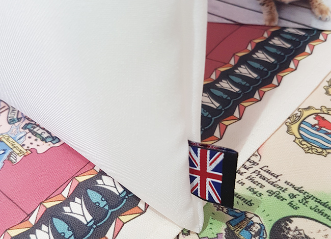 Union Jack Label on UK Made Tote Bags